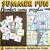 SUMMER: NUMBER SENSE PUZZLES {Addition, Subtraction, Multiplication, Division}