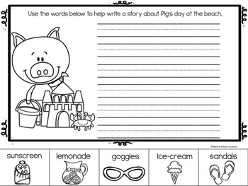 SUMMER FUN Writing Prompts NO PREP FREEBIE (PreK-1)