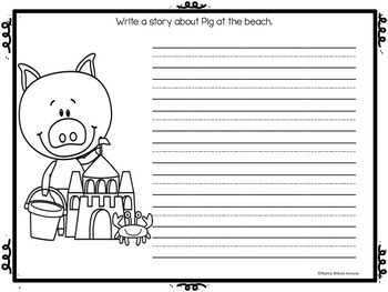 SUMMER Writing Prompts NO PREP FREEBIE   PreK-1