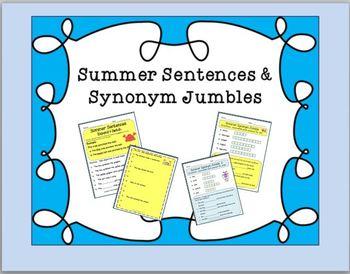 SUMMER Fun: Synonym Jumble and Sentences(GRAMMAR VERBS EXPAND)