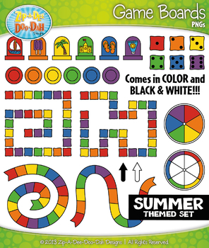 SUMMER Game Boards Clipart {Zip-A-Dee-Doo-Dah Designs}