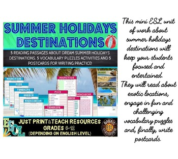 Summer Holidays Unit, Flash Cards and Word Puzzles MEGA BUNDLE for ESL/ELL