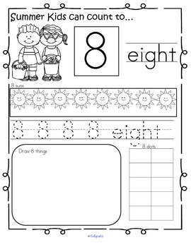 SUMMER Number Practice Printables - Recognition, Tracing, Counting 1-20