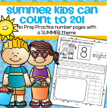 SUMMER Number Practice Printables - Recognition, Tracing,