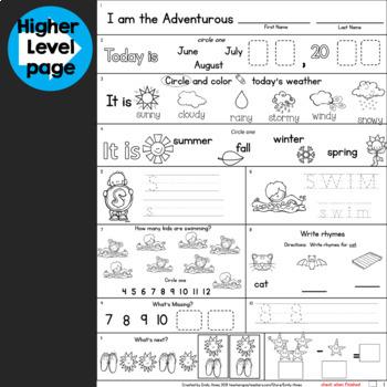 Summer Packet:  Kindergarten-First Grade Morning Work