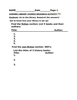 SUMMER LIBRARY SCIENCE RESEARCH ACTIVITY