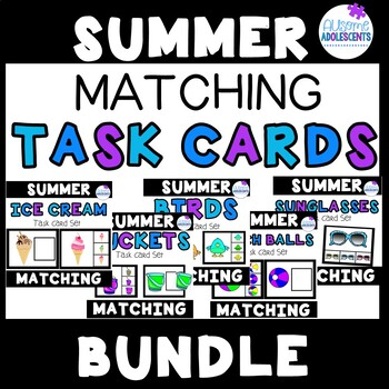 SUMMER MATCHING TASK CARDS (colorful clipart images)