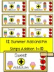 SUMMER- MATH CENTER- Add and Pin (1-10 and 10's &1's) Color+Black/White
