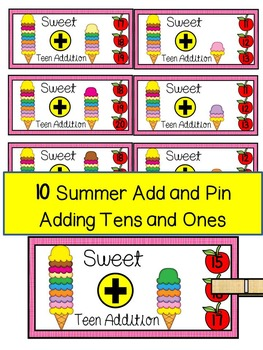 ICE CREAM SCOOPS MATH CENTER- Add and Pin (1-10 and 10's &1's) Color+BW
