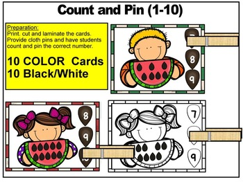 SUMMER- MATH CENTER- COUNT and PIN (1-10 and 10's &1's) Color+Black/White