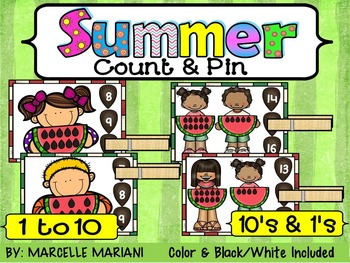 SUMMER- MATH CENTER- COUNT and PIN (1-10 and 10's &1's) Co