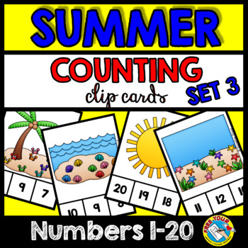 SUMMER MATH CENTER (END OF YEAR ACTIVITY KINDERGARTEN) NUMBERS 1-20 TASK CARDS