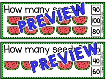 SUMMER MATH: WATERMELON SEEDS SKIP COUNTING TASK CARDS: COUNTING BY TENS CENTER
