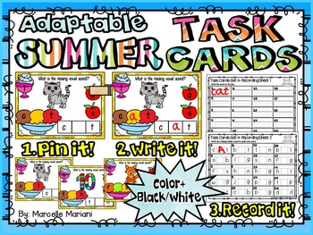 SUMMER-MIDDLE Sounds-ADAPTABLE TASK CARDS- Color & Black/White