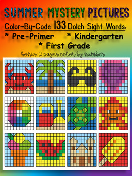 SUMMER MYSTERY PICTURES COLOR-BY-CODE DOLCH SIGHT WORDS