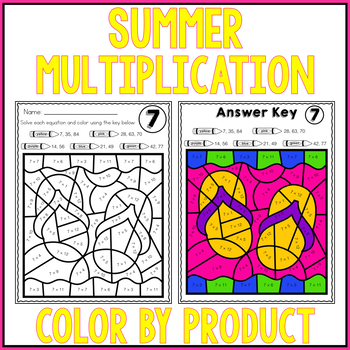SUMMER Math Multiplication Color by Number Worksheets