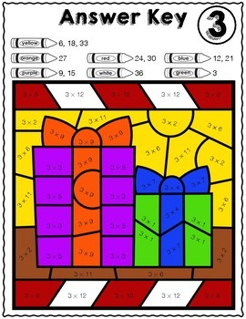 Christmas & Winter Math | Multiplication Color by Number Worksheets