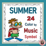 SUMMER Music Coloring Sheets: 24 Color by Music Pages