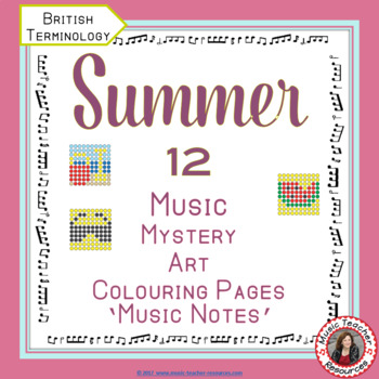 SUMMER Music Colouring Sheets: 12 Music Colouring Pages: Music Mystery Art
