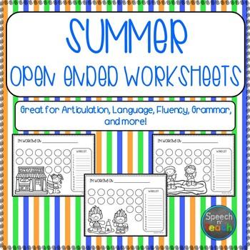 SUMMER Open Ended Worksheets