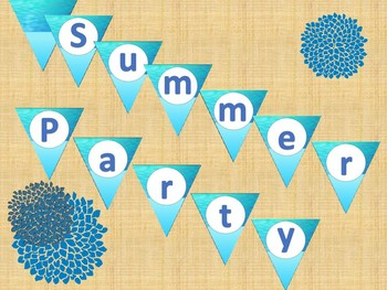 SUMMER PARTY decorations (pennants and mini-posters