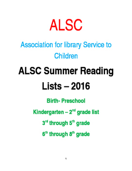 SUMMER READING BOOK LISTS