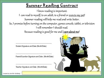SUMMER READING CONTRACT and Feedback Forms -  2nd to 3rd Grade