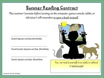 SUMMER READING CONTRACT and Feedback Forms - K to 2nd