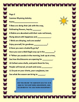 SUMMER RHYMING ACTIVITY W/1 mystery rhyme to fill in, and a geography fact