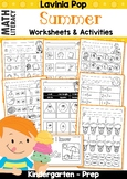 Summer Review Kindergarten Math & Literacy Worksheets & Activities