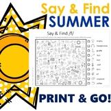 Summer Say & Find for Articulation! PRINT & GO!