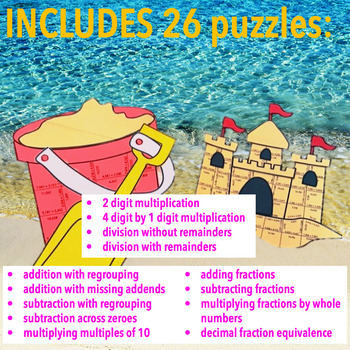 SUMMER SCHOOL ACTIVITIES 4TH GRADE MATH CENTERS - BEACH MATH - PAIL & SANDCASTLE