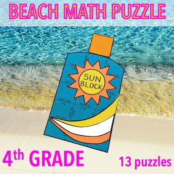 SUMMER SCHOOL ACTIVITIES 4TH GRADE MATH CENTERS - BEACH MATH - SUNBLOCK