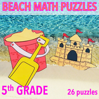 SUMMER SCHOOL ACTIVITIES 5TH GRADE MATH CENTERS - BEACH MATH - PAIL & SANDCASTLE