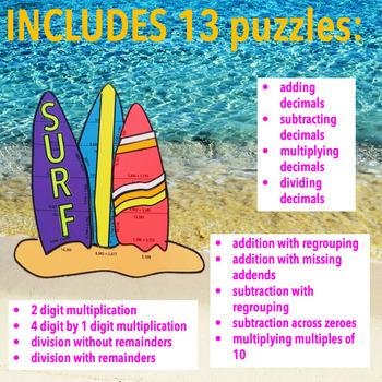 SUMMER SCHOOL ACTIVITIES 5TH GRADE MATH CENTERS - BEACH MATH - SURFBOARDS