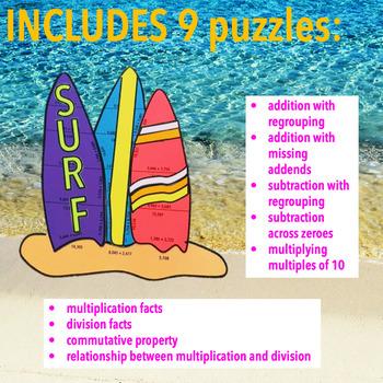 SUMMER SCHOOL ACTIVITIES THIRD GRADE MATH CENTERS - BEACH MATH - SURFBOARDS