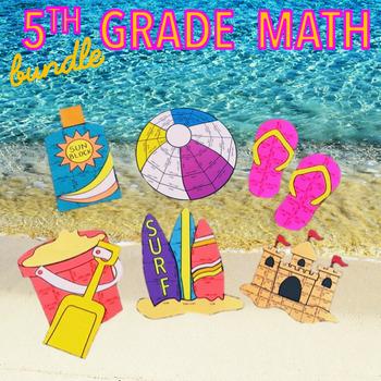 SUMMER SCHOOL FIFTH GRADE MATH REVIEW - BEACH MATH BUNDLE