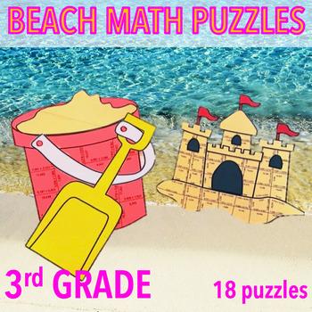 SUMMER SCHOOL MATH ACTIVITIES 3RD GRADE MATH - BEACH MATH - PAIL & SANDCASTLE