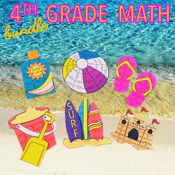 SUMMER SCHOOL MATH REVIEW - FOURTH GRADE BEACH BUNDLE