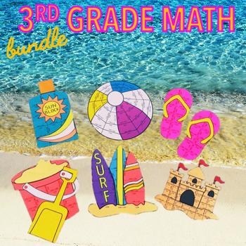 SUMMER SCHOOL MATH REVIEW - THIRD GRADE BEACH MATH BUNDLE