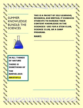 SUMMER SCIENCE KNOWLEDGE BUNDLE: 15 PROMPTS