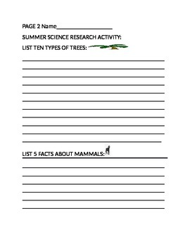 SUMMER SCIENCE RESEARCH ACTIVITY