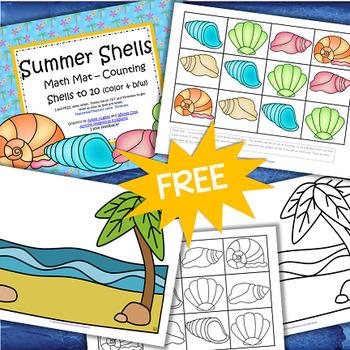 SUMMER SHELLS Math Mat FREE