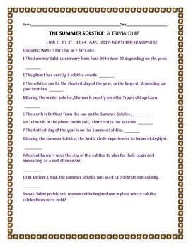 SUMMER SOLSTICE: A TRIVIA QUIZ: A TRUE/FALSE QUIZ
