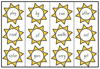 SUMMER SUN PM Sight Word Cards Level 1-10