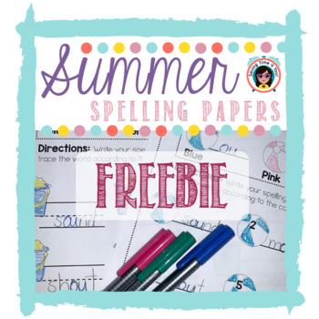 SUMMER Spelling Papers FREEBIE