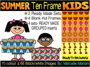 SUMMER TEN FRAME KIDS CLIP ART BUNDLE