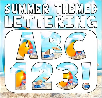 SUMMER  THEMED LETTERS, NUMBERS AND PUNCTUATION - DISPLAY LETTERING SEASON