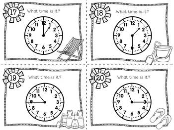 Telling Time to the Hour, Half Hour, Quarter Hour, & 5 Min. : Summer TIME Bundle