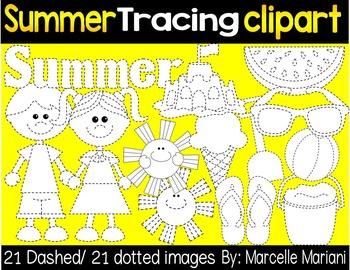 SUMMER TRACING CLIP ART- SUMMER CLIP ART GRAPHICS